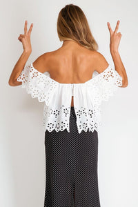 Stone Cold Fox || Holy Tube top in eyelet in white