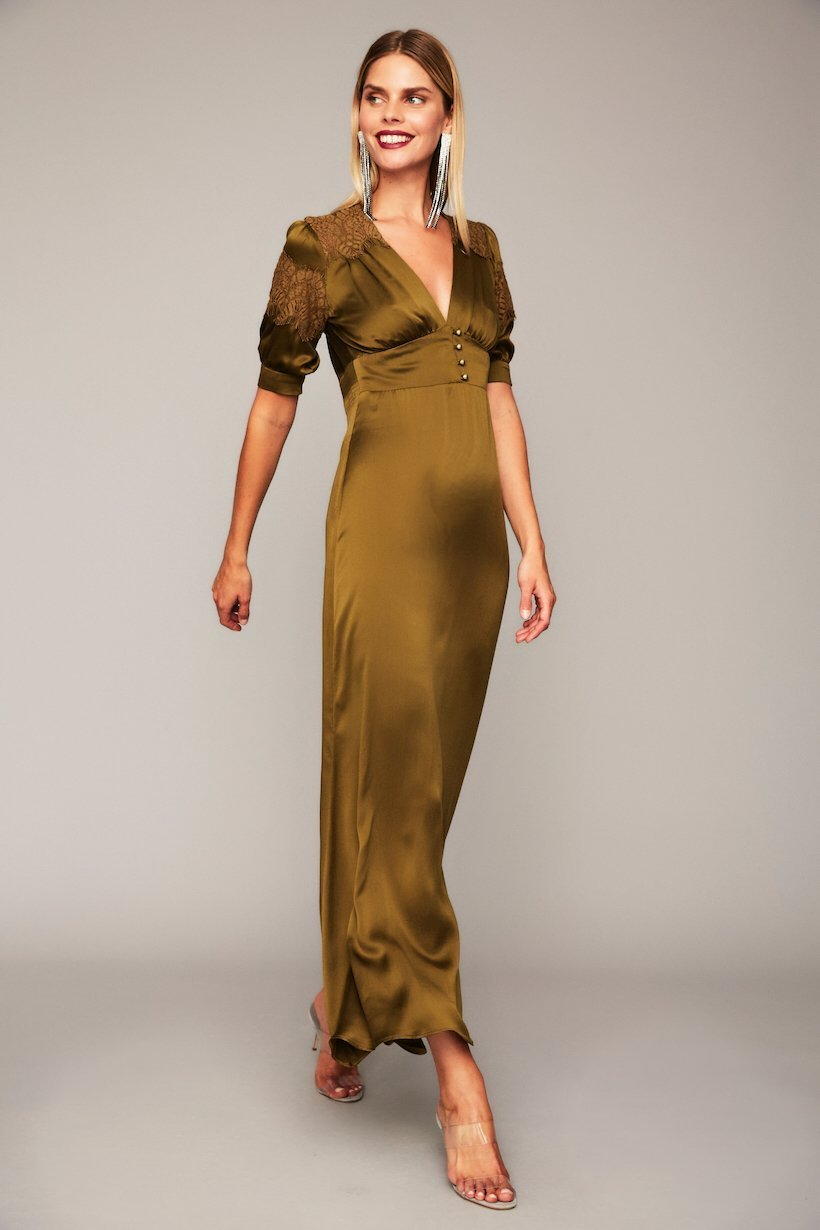 Stone Cold Fox || Topanga gown in army green