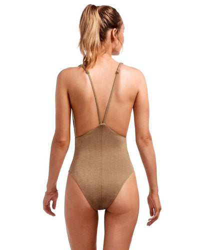 Vitamin A Stella bodysuit in bronze metallic