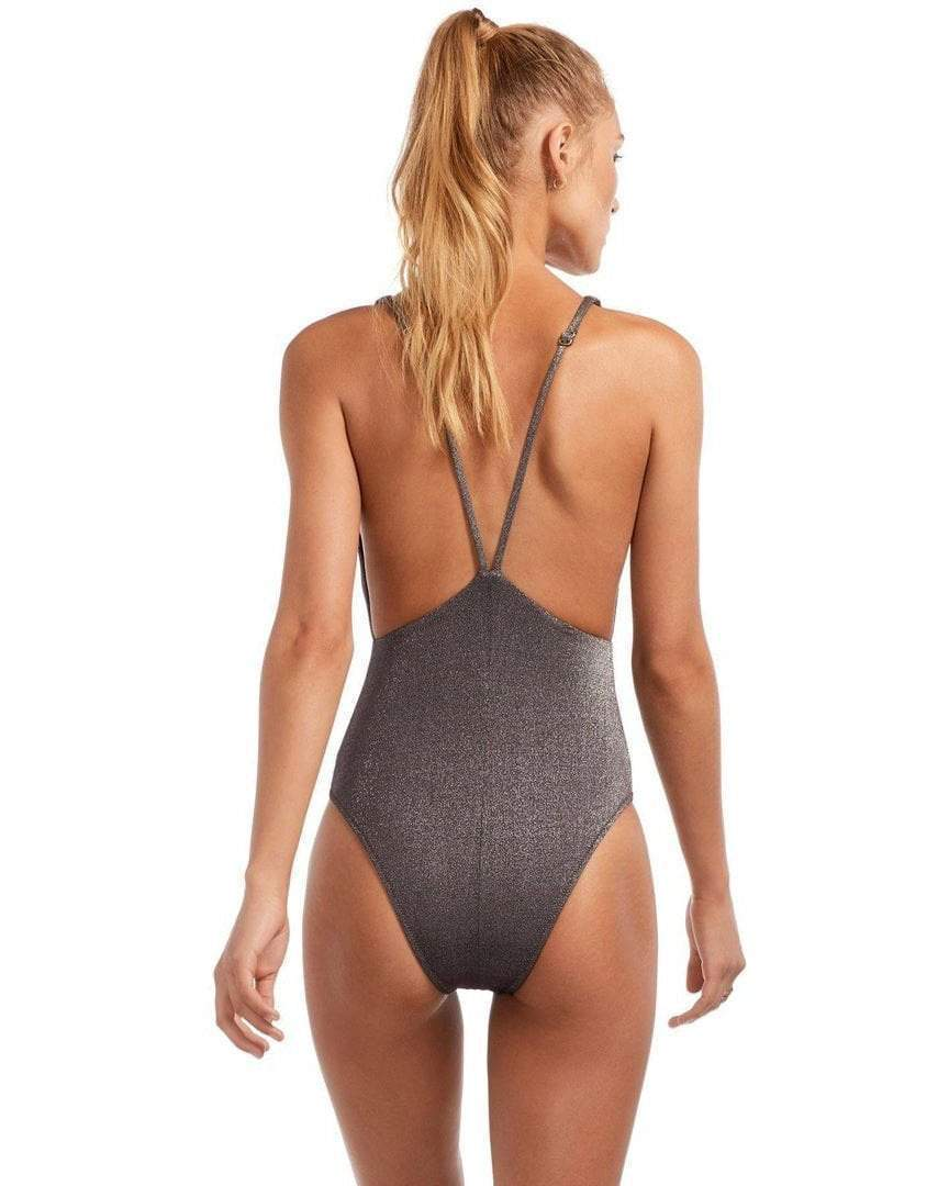 Vitamin A Stella bodysuit in graphite metallic