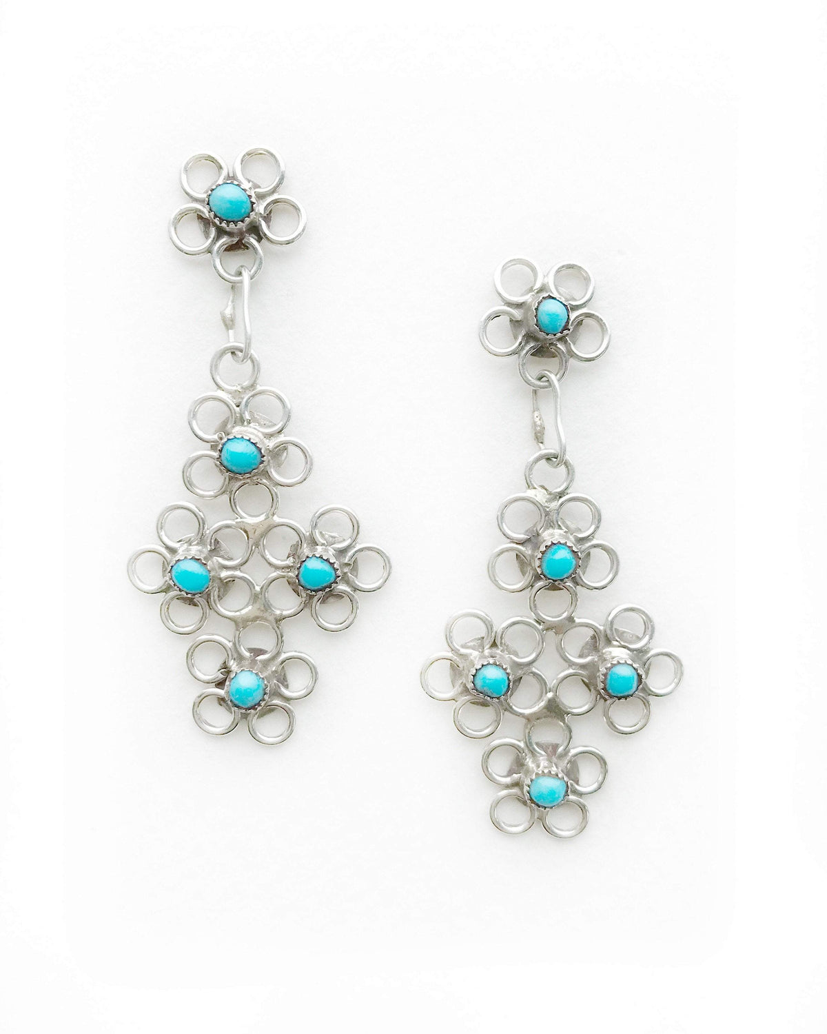 Zuni Petit Point silver & turquoise bouquet earrings