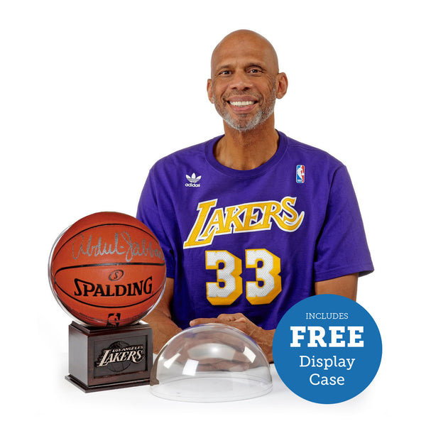 Kareem Abdul-Jabbar Autographed Basketball – Includes FREE Lakers Display Case