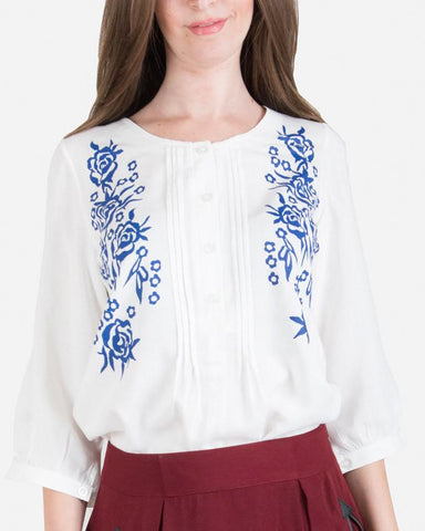 SSBL744 Pleted 3/4 Sleeve Floral Print Blouse - White/Blue