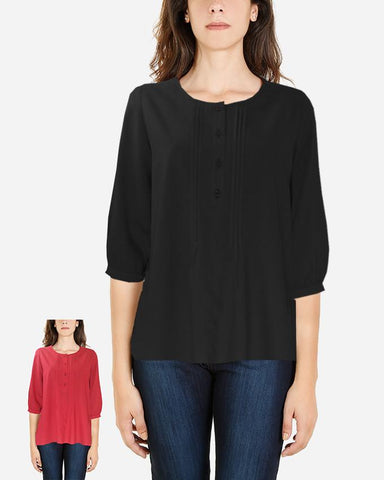 S16SBL712-3/4 Sleeve Plain Blouse