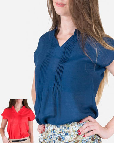 SSBL740Giro Plain Half Sleeve Pleted Blouse