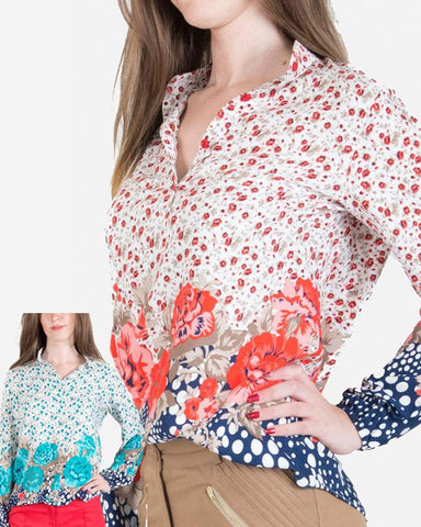 SSBL741-Viscose\Cotton Floral Pattern Blouse