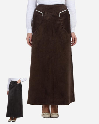 W17SK410- Velvet Zippers Pockets Maxi Skirt