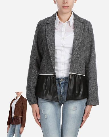 W17JAC902-Grey Wool Blazer with zippers