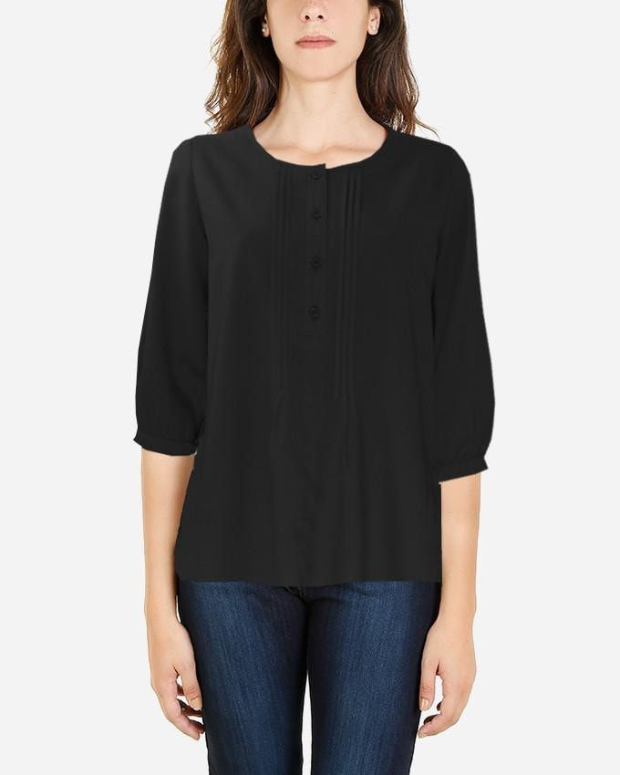 S16SBL712-3/4 Sleeve Plain Blouse - GIRO