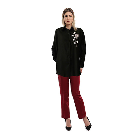 S18BL710 - Shirt Collar  Long Sleeves Black Floral Printed Blouse