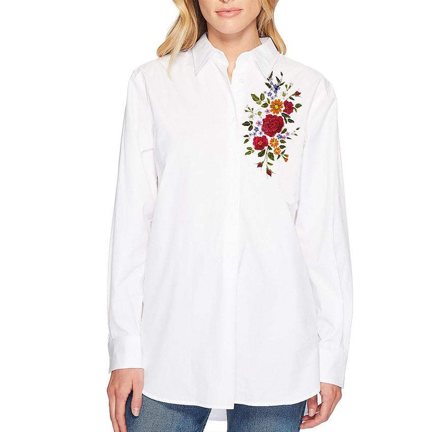 S18BL708 - Shirt Collar  Long Sleeves Printed Blouse - GIRO
