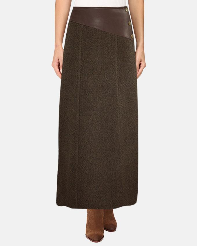 W17SK411 - Wool Leather Side Buttons Plain Maxi Skirt