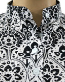 SWBL702-Black and white Blouse - GIRO