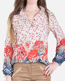 SSBL741-Viscose\Cotton Floral Pattern Blouse - GIRO