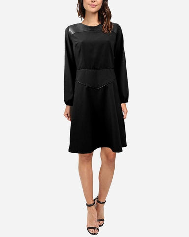 W17DR16 -  Plain Leather Top Full Sleeve Short Dress