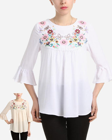 S17BL705 -  Floral Flared 3/4 Sleeve Blouse