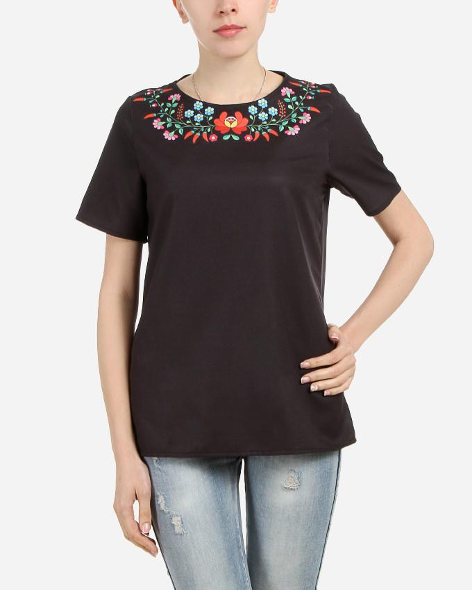 S17BL700 - Black Floral Neck Short  Sleeve Blouse - GIRO