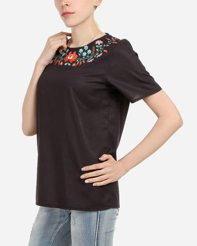 S17BL700 - Black Floral Neck Short  Sleeve Blouse