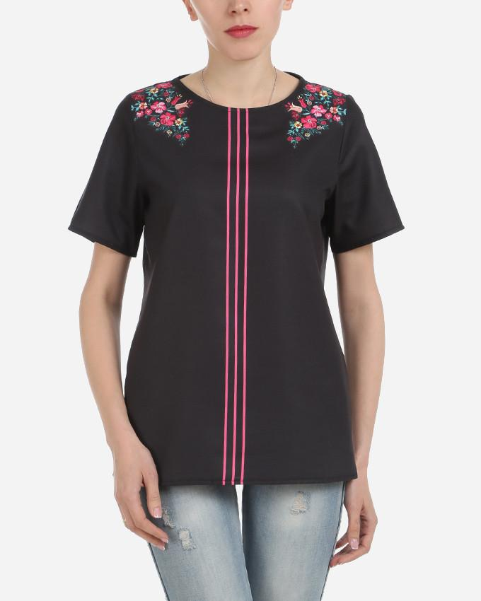 S17BL703 - Black Floral Shoulder 3 Stripes Short  Sleeve Blouse - GIRO