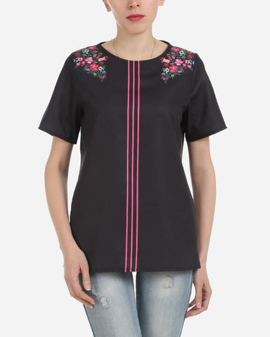S17BL703 - Black Floral Shoulder 3 Stripes Short  Sleeve Blouse