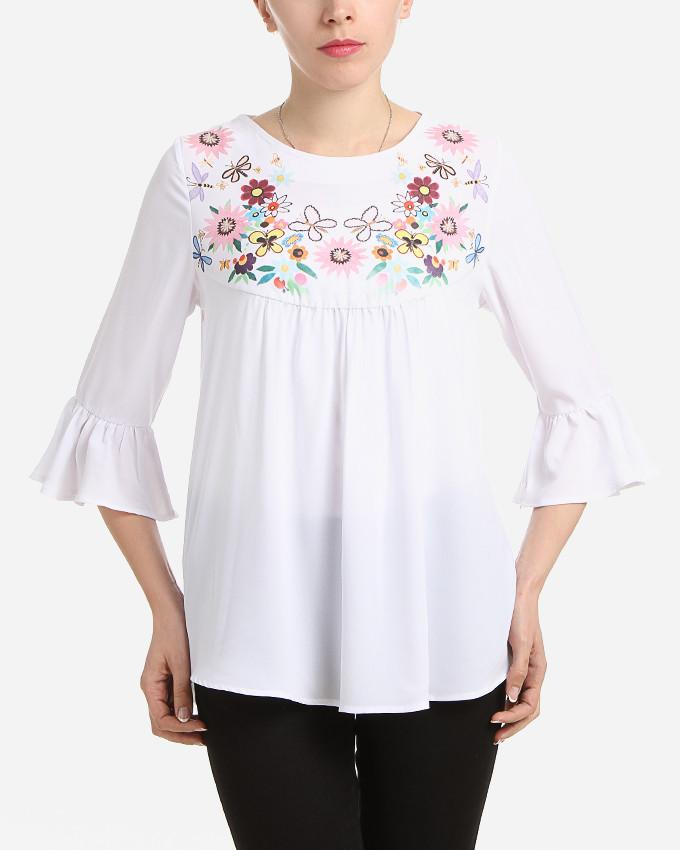 S17BL705 -  Floral Flared 3/4 Sleeve Blouse - GIRO