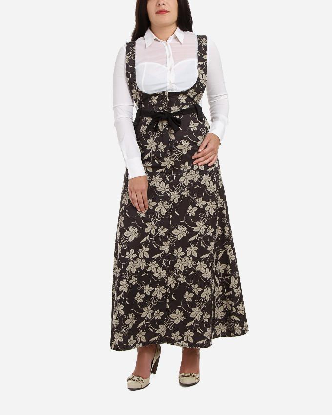S17SK403Floral-Drill Maxi Skirt