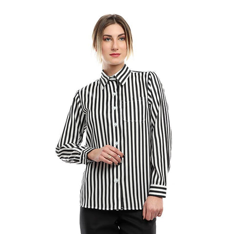 S18BL701 - Stripes Shirt Collar Blouse
