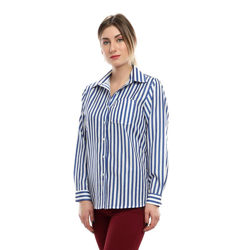 S18BL701 - Stripes Shirt Collar Blouse - GIRO