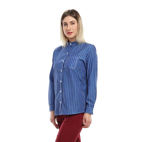 S18BL702 - Stripes Stand Up Collar Blouse