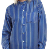 S18BL702 - Stripes Stand Up Collar Blouse - GIRO