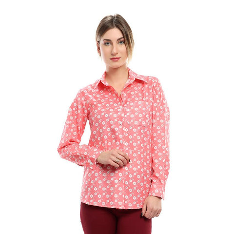 S18BL703 - Floral Shirt Collar Blouse