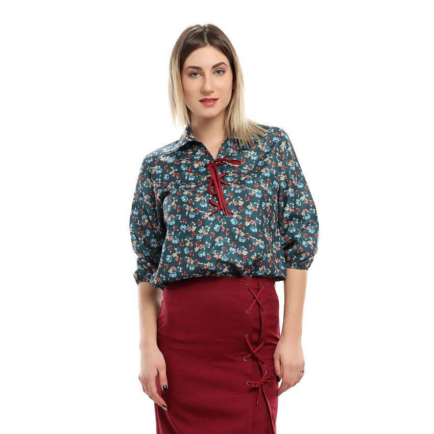 S18BL704 - Blue Laces Floral Stand Up Collar Blouse - GIRO