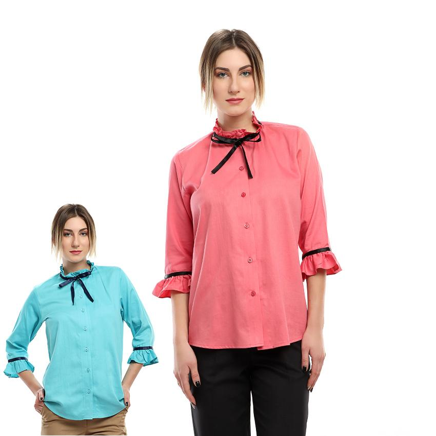 S18BL705 - Frill Ribbon Stand Up Collar Blouse - GIRO