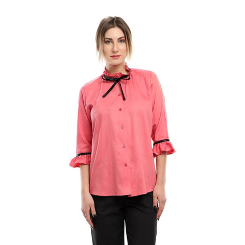 S18BL705 - Frill Ribbon Stand Up Collar Blouse