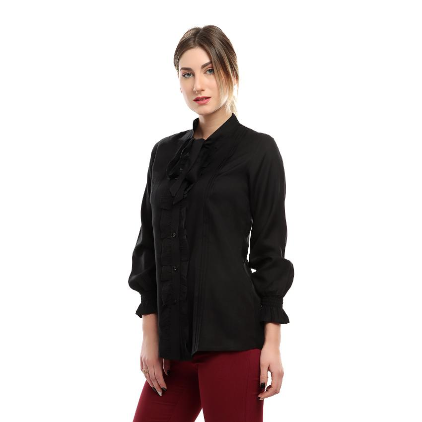 S18BL706 - Frill Long Sleeves Bow Neck Blouse - GIRO
