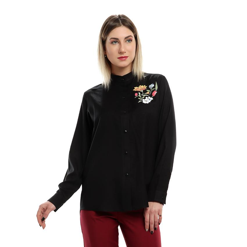 S18BL707 - Stand Up Collar  Long Sleeves Printed Blouse - GIRO