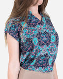 SSBL742-Vector Pattern Multicolour/BLUE Viscose Blouse - GIRO