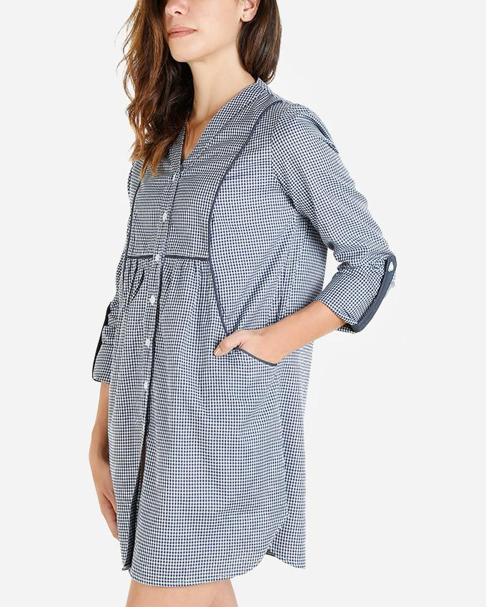 SSBL720-Blue\White gangham jeans Shirt Dress - GIRO