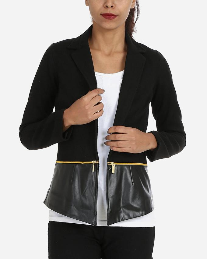 W16JAC901-Black Blazer with zippers - GIRO