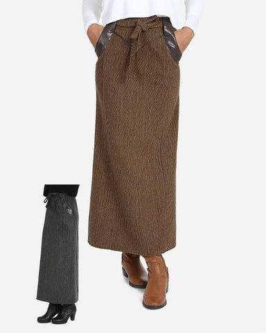 W16SK406- Triangle Leather Maxi Skirt