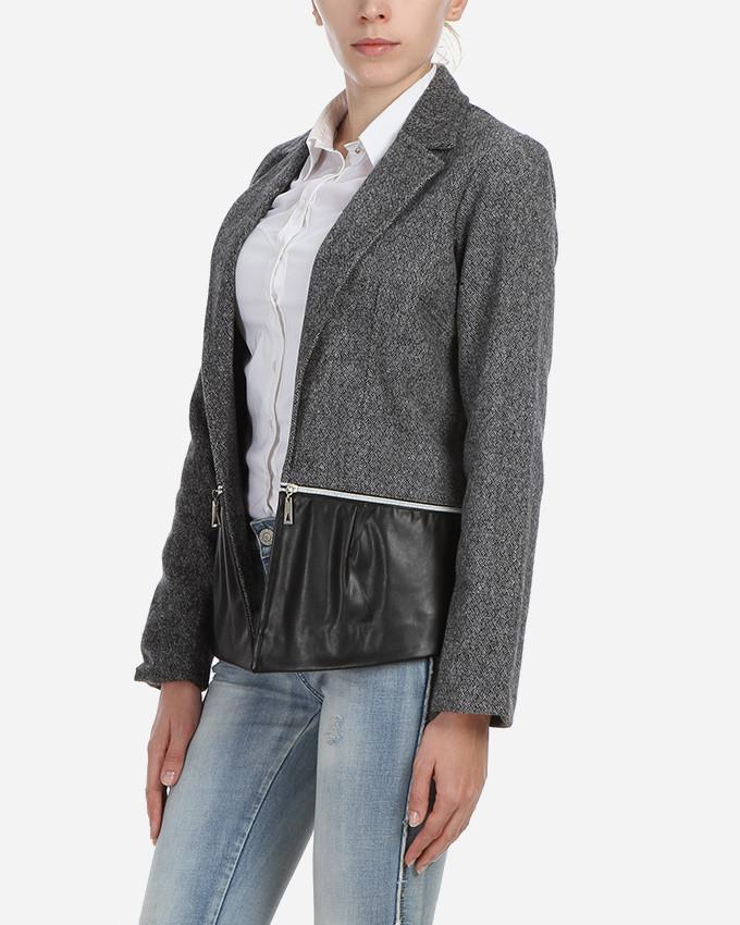W17JAC902-Grey Wool Blazer with zippers - GIRO