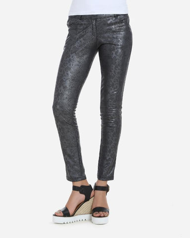 WPAN601-Leather Snake Skin Effect Skinny Pants