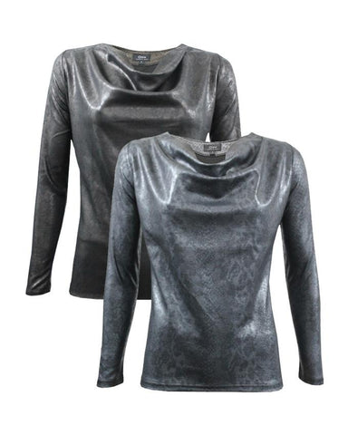 WBO1006-Brown Snake Leather Effect Top