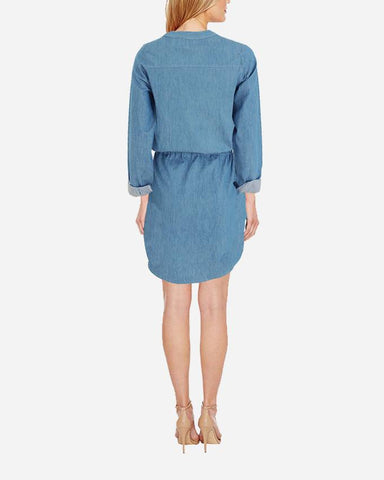 S17DR23- JeansPlain Long Sleeves Shirt Dress
