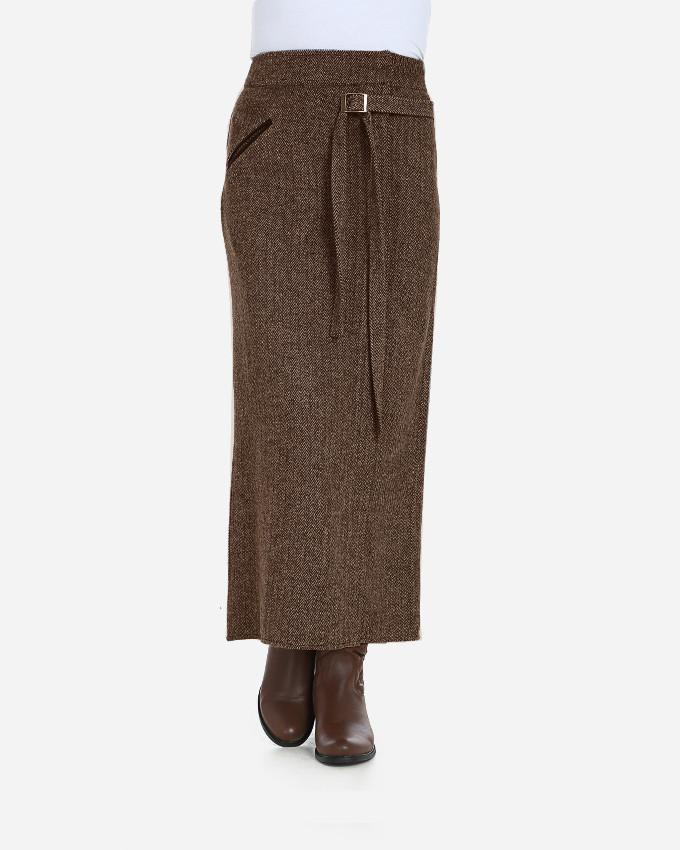 W16SK401TWEED- Leather Pocket Maxi Wool Skirt