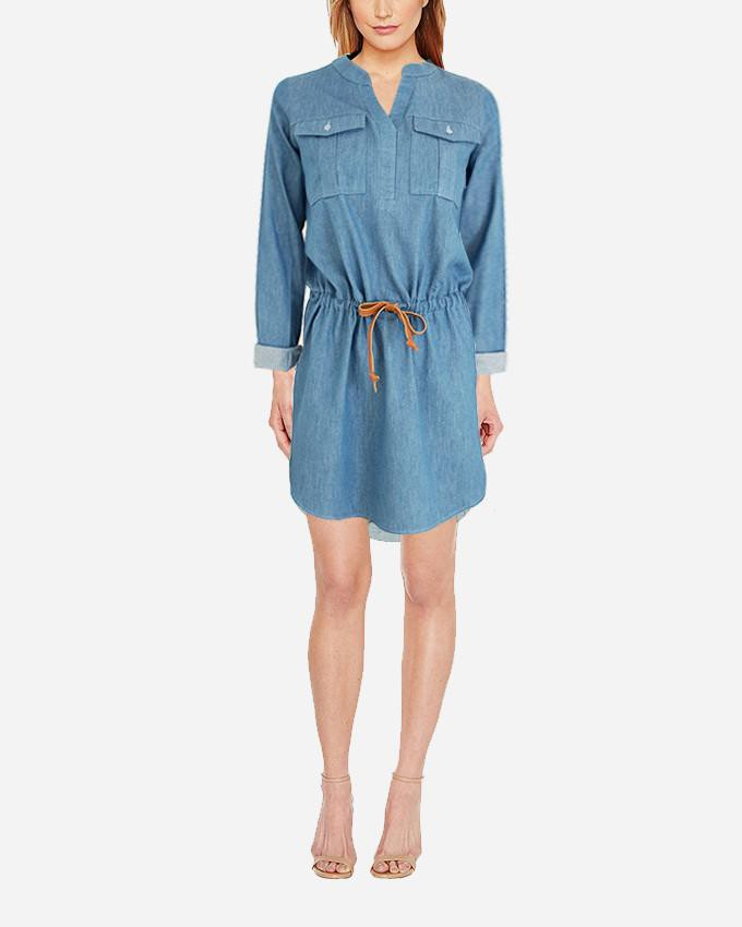 S17DR23- JeansPlain Long Sleeves Shirt Dress - GIRO