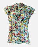 SSBL701-Viscose\Cotton Floral Caravate Blouse - GIRO