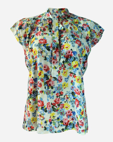 SSBL701-Viscose\Cotton Floral Caravate Blouse
