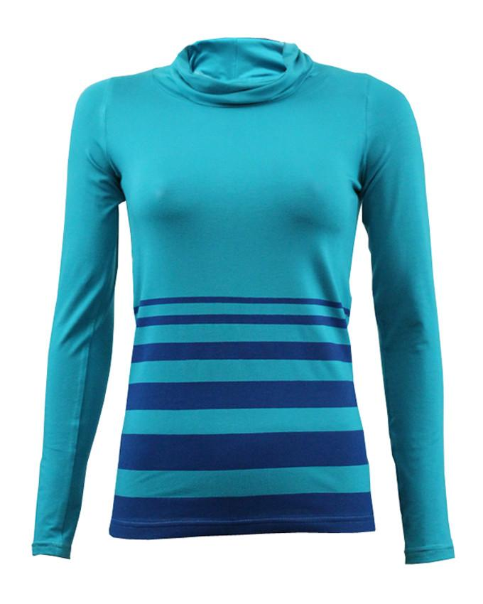 WBO1002-Turquoise Stripes Top - GIRO
