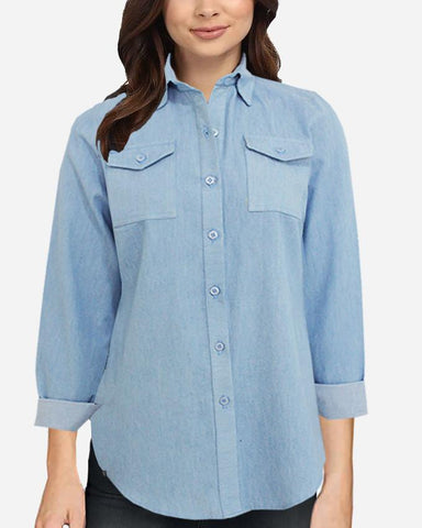 S17BL720 -  Jeans Shirt Long Sleeve Blouse